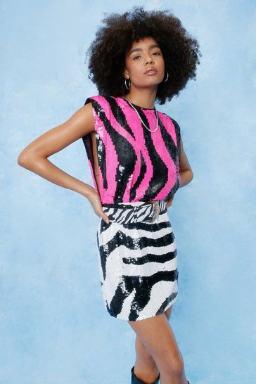 Hot pink Zebra Sequin Embellished Shoulder Pad Mini Dress