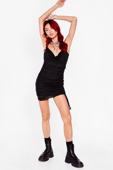 Black Ruched lifted hem mesh strappy mini dress