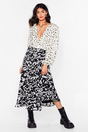 Black Dalmatian Satin Long Sleeve Midi Dress