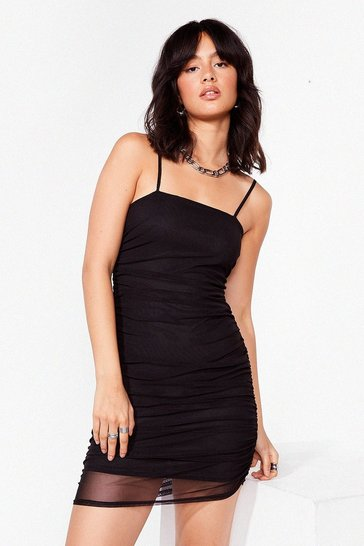 Black Ruched mesh square neck mini dress