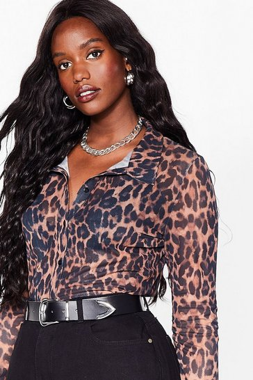 Brown Plus Size Leopard Mesh Shirt