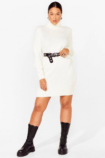 Cream Plus Size Knitted Turtleneck Sweater Dress