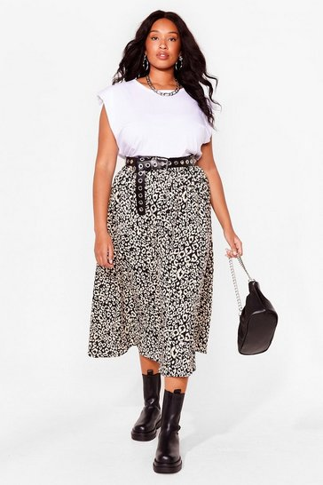 Black Plus Size Leopard Flowy Midi Skirt