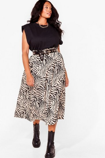 Cream Worth Your Wild Plus Zebra Midi Skirt