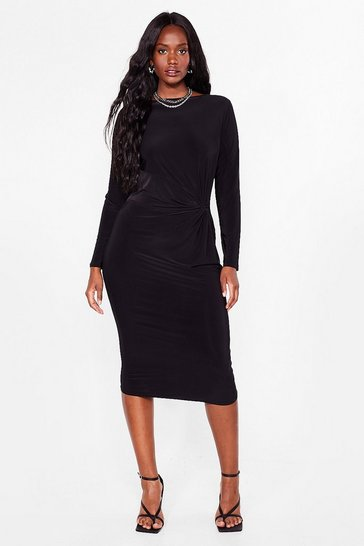 Black Plus Size Twisted Bodycon Midi Dress