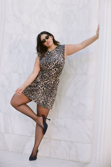 Brown Tell It Meow It Is Plus Shoulder Pad Mini Dress