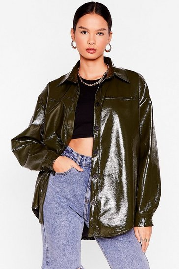 Khaki Patent Us a Picture Oversized Shirt Jacket