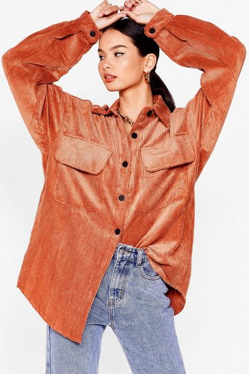 Rust According to Us Oversized Corduroy Shirt Jacket