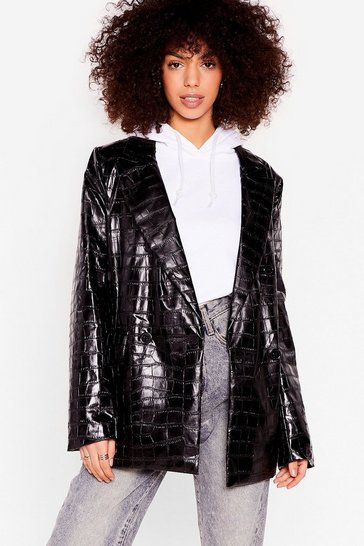 Black Croc My Baby Patent Faux Leather Oversized Blazer