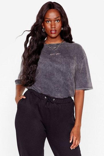 Washed black Plus Branded Nasty Gal Longline Tee
