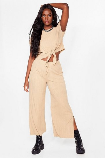 Ensemble crop top à épaulettes & pantalon large fendu Grande coalition, Stone