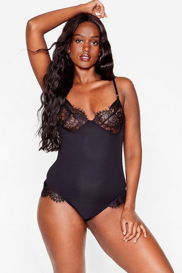 Black Lacey in Love Plus Ribbed Bodysuit