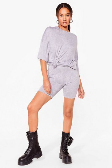 Grey Petite Oversized Tee and Cycling Short Set