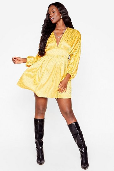 Mustard Honey I'm Home Plus Satin Leopard Dress