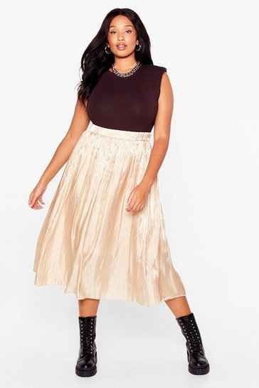 Gold Very Nice to Pleat You Plus Midi Skirt