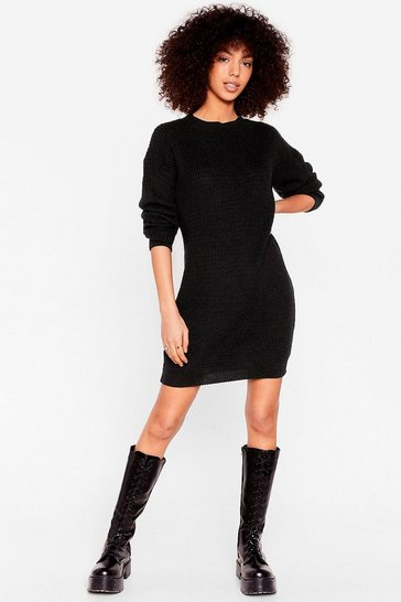 Black Join Our Crew Knitted Sweater Dress