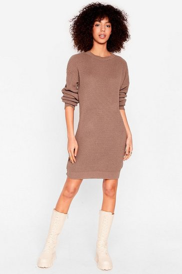 Chocolate Join Our Crew Knitted Sweater Dress