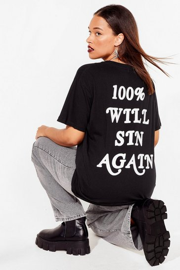 Grande Taille - T-shirt ample à inscription 100% Will Sin Again, Black