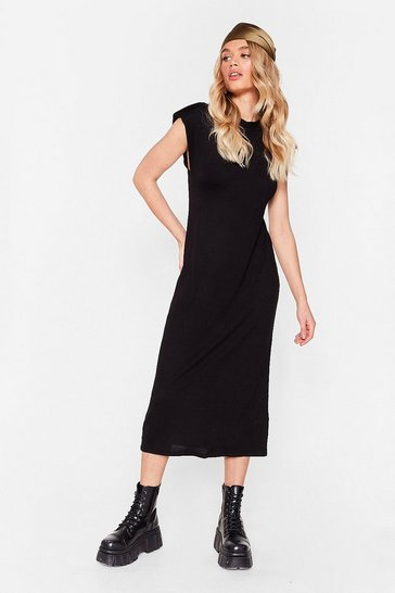 Black Shoulder to Shoulder Pad Relaxed Midi Dress