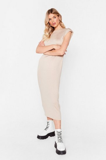 Stone Shoulder to Shoulder Pad Relaxed Midi Dress