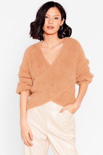 Toffee We'll Keep Knit Quick V-Neck Wrap Sweater
