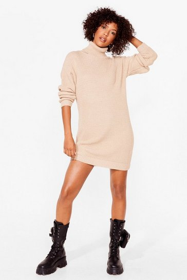 Stone Get Straight to Knit Turtleneck Sweater Dress