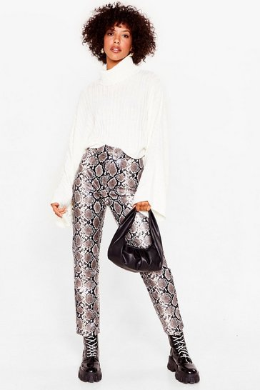 Grey We'll Snake It Up to You Faux Leather Tapered Pants