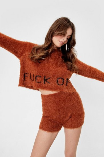 Chocolate Get the Message Fluffy Knit Short Lounge Set