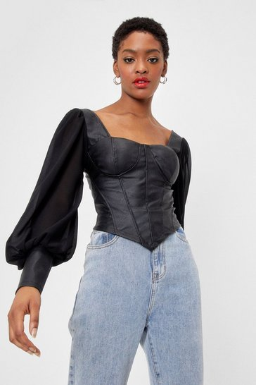 Cream Corset the Mood Faux Leather Chiffon Top