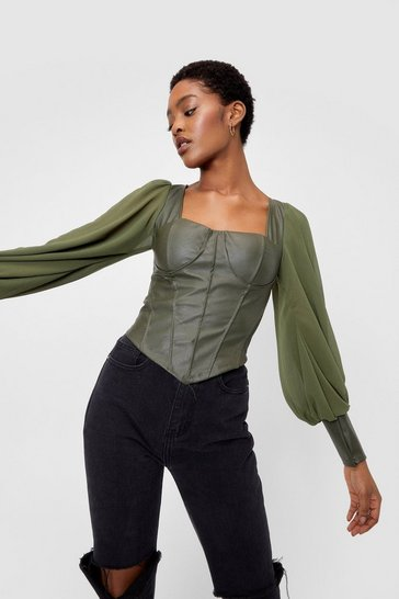 Khaki Corset the Mood Faux Leather Chiffon Top