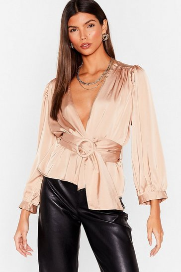 Champagne Bridge the Wrap Belted Satin Blouse