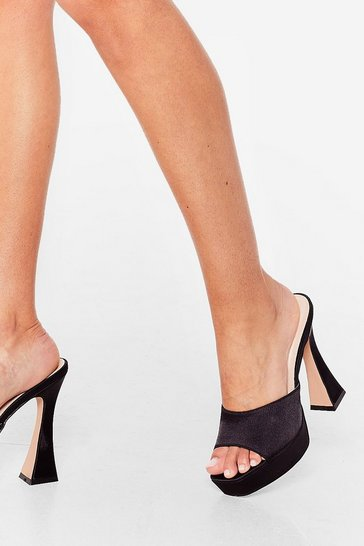 Black The Way You Make Me Heel Satin Platform Mules