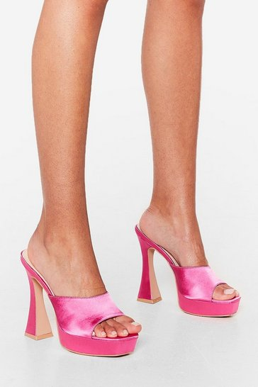 Fuchsia The Way You Make Me Heel Satin Platform Mules