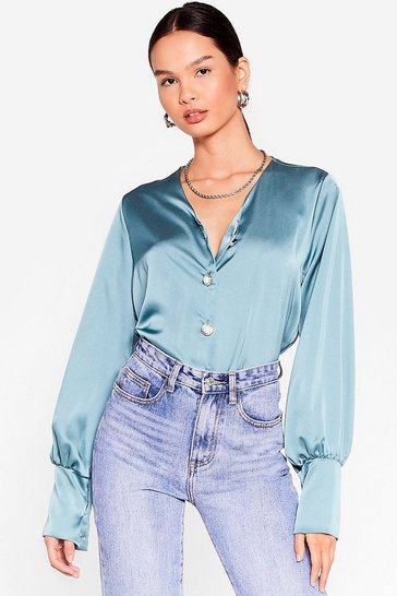 Blue Sleek Your Mind Satin Pearl Blouse