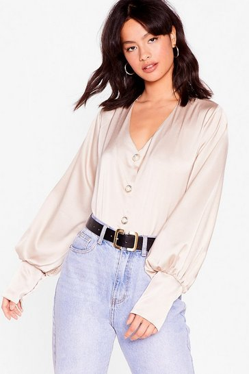 Cream Sleek Your Mind Satin Pearl Blouse