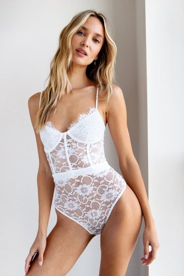 White Your Lace or Mine High-Leg Bodysuit