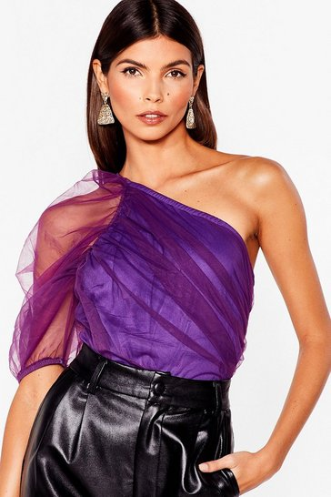 Purple Sleeve 'Em Behind Mesh One Shoulder Bodysuit