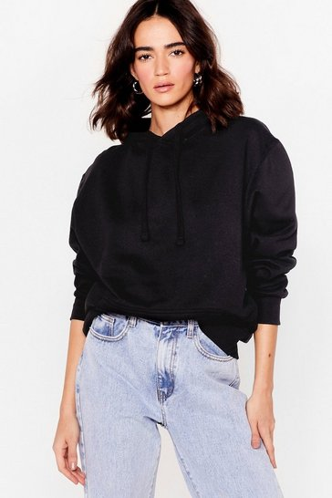 Black Getting Warmed Up Petite Oversized Hoodie
