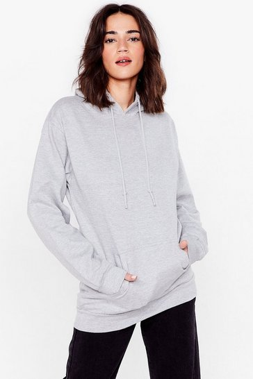 Grey Getting Warmed Up Petite Oversized Hoodie