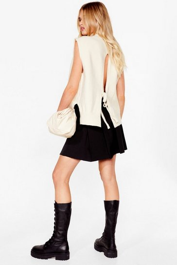 Cream Back and Forth Knitted Tie Sweater Vest