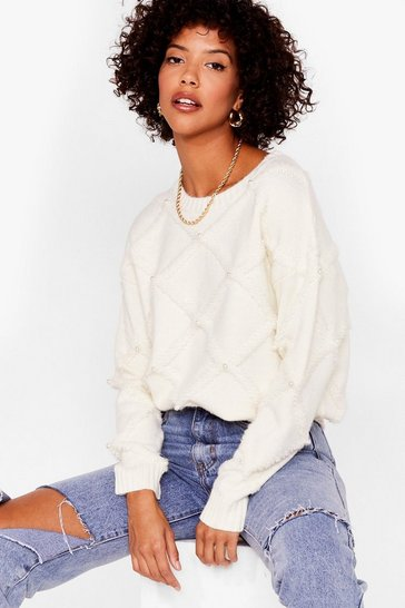 Cream TEXTURED PATTERN JUMPER WITH PEARL EMBELLISHMENT