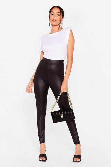 Black Wet Does It Matter Petite High-Waisted Leggings