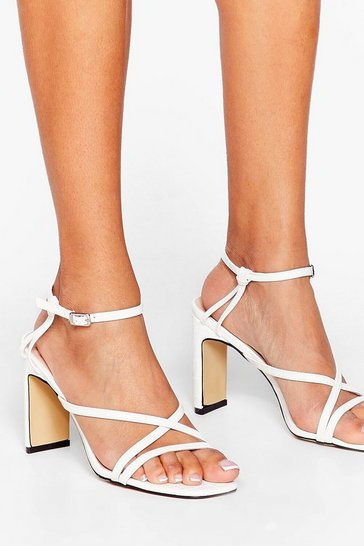 White Headin' to Strappy Hour Faux Leather Heeled Sandals