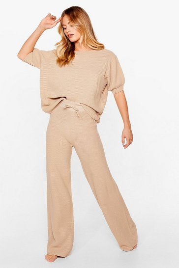 Oatmeal Text-ure Back Later Sweater and Pants Lounge Set