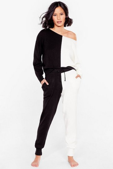 Black Colourblock Knitted Top and Joggers Set