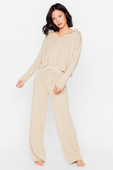 Oatmeal Knit Jumper and Wide Leg Trousers Set