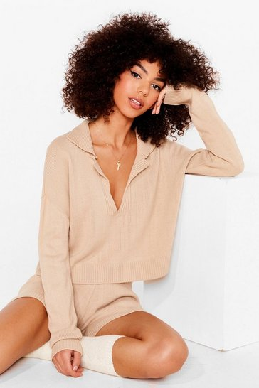 Oatmeal Collar Jumper and Shorts Loungewear Set