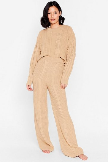 Soft beige Cable Knit It Off Sweater and Pants Lounge Set