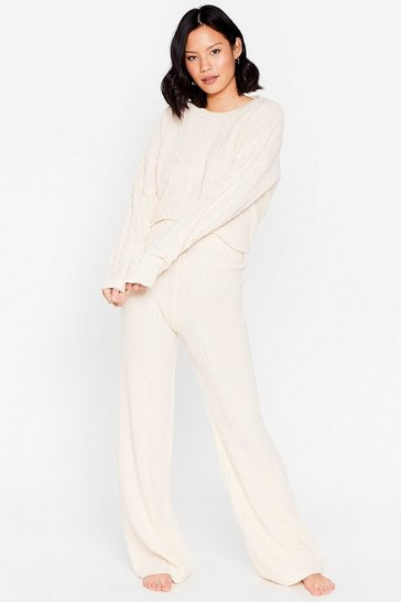 Vanilla Cable Knit It Off Sweater and Pants Lounge Set