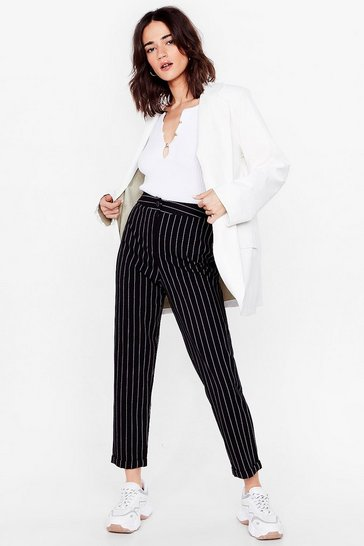 Black Pinstripe Up Your Life Petite High-Waisted Pants